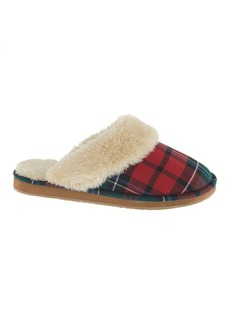 Women's plaid shearling scuffs