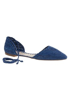 Woven straw d'Orsay flats with ankle tie