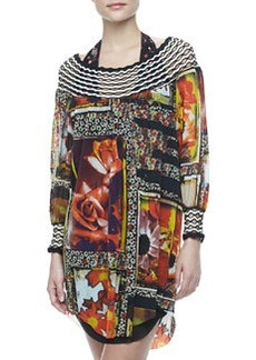 Floral-Print Long-Sleeve Coverup, 245 Caracas   Floral-Print Long-Sleeve Coverup, 245 Caracas