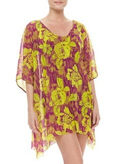 Floral-Print Sheer Coverup   Floral-Print Sheer Coverup