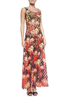 Floral/Dotted Mesh Maxi Coverup   Floral/Dotted Mesh Maxi Coverup