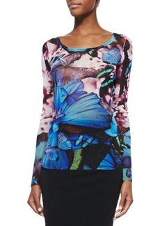 Jean Paul Gaultier Butterfly-Print Jersey T-Shirt, Black Multi