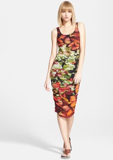 Jean Paul Gaultier Butterfly Print Ruched Tulle Tank Dress