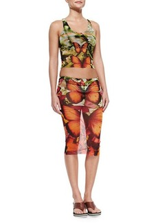 Jean Paul Gaultier Butterfly-Print Skirted Two-Piece Swimsuit  Butterfly-Print Skirted Two-Piece Swimsuit