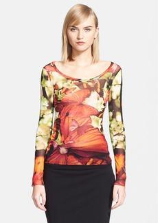 Jean Paul Gaultier Butterfly Print Tulle Top