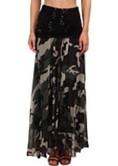 Jean Paul Gaultier Camo Tulle Maxi Skirt w/ Fishnet Waist