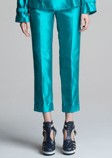 Jean Paul Gaultier Cropped Shantung Pants with Cuffs