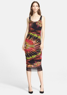 Jean Paul Gaultier Feather Print Ruched Tulle Tank Dress (Nordstrom Exclusive)