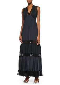 Jean Paul Gaultier Fishnet Lace-Inset Tiered Dress