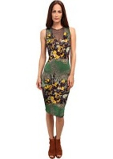 Jean Paul Gaultier Floral Jersey Sleeveless Dress w/ Tulle Inset