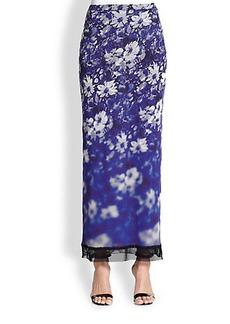 Jean Paul Gaultier Floral Mesh-Detail Skirt