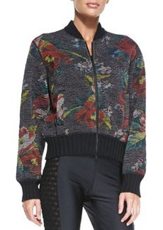 Jean Paul Gaultier Floral-Print Bomber Jacket, Black/Red/Multi