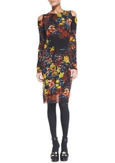 Jean Paul Gaultier Floral-Print Long-Sleeve Dress with Cold Shoulders