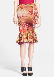Jean Paul Gaultier Floral Print Ruffled Hem Skirt