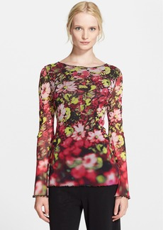 Jean Paul Gaultier Floral Print Tulle Long Sleeve Top