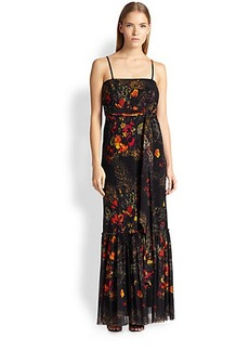 Jean Paul Gaultier Floral-Print Tulle Maxi Dress