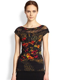 Jean Paul Gaultier Floral Print Tulle Top