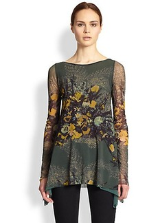 Jean Paul Gaultier Floral Print Tulle Tunic