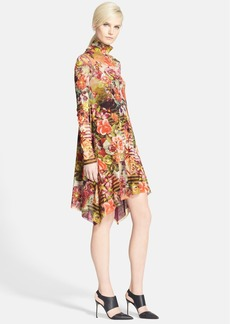 Jean Paul Gaultier Floral Print Turtleneck Tulle Dress
