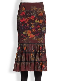 Jean Paul Gaultier Floral Tiered Mesh Midi Skirt