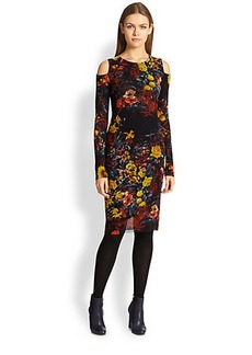 Jean Paul Gaultier Floral Tulle Cold-Shoulder Dress