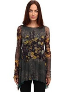 Jean Paul Gaultier Floral Tulle Long Sleeve A-Line Top