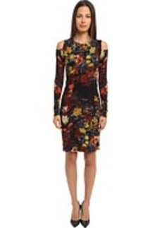 Jean Paul Gaultier Floral Tulle Long Sleeve Cut-Out Shoulder Dress