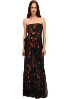 Jean Paul Gaultier Floral Tulle Spaghetti Strap Maxi Dress