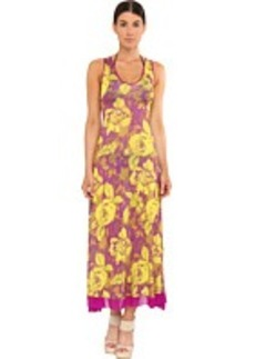 Jean Paul Gaultier Flower Viscose Tank V-Neck Long Dress