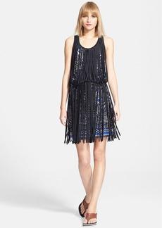 Jean Paul Gaultier Fringe Overlay Print Blouson Dress