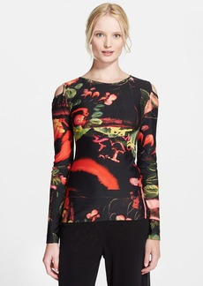 Jean Paul Gaultier Garden Print Cold Shoulder Top
