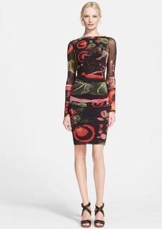 Jean Paul Gaultier Garden Print Long Sleeve Tulle Dress
