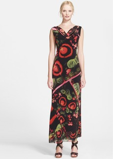 Jean Paul Gaultier Garden Print Tulle Maxi Dress