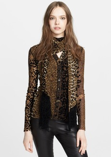 Jean Paul Gaultier Leopard Print Flocked Cardigan with Scarf