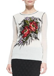 Jean Paul Gaultier Long-Sleeve Floral-Embroidered Top, White
