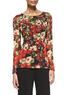 Jean Paul Gaultier Long-Sleeve Printed Flowers Top