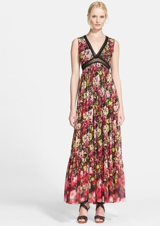 Jean Paul Gaultier Mesh Trim Floral Print Tulle Maxi Dress