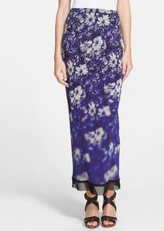Jean Paul Gaultier Mesh Trim Floral Print Tulle Maxi Skirt