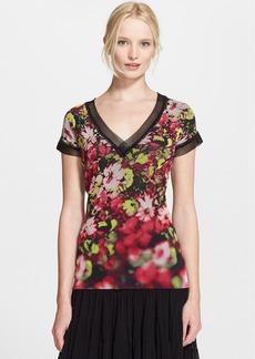 Jean Paul Gaultier Mesh Trim Floral Print Tulle Top