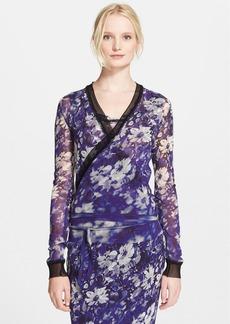Jean Paul Gaultier Mesh Trim Floral Print Tulle Wrap Cardigan