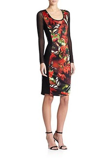 Jean Paul Gaultier Mixed-Media Digital-Print Dress