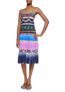 Jean Paul Gaultier Ombre Striped Mixed-Print Tiered Slip Dress