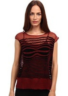 Jean Paul Gaultier Optic Flocked Silk Sleeveless Top
