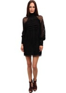 Jean Paul Gaultier Optic Flocked Silk Turtleneck Dress