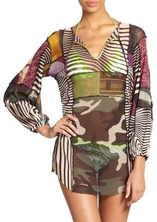 Jean Paul Gaultier Optical Patchwork Tie-Neck Coverup