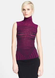 Jean Paul Gaultier Optical Print Sleeveless Tulle Turtleneck
