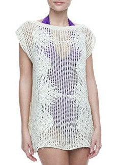 Jean Paul Gaultier Palmier Cotton Crochet Tunic, Cream