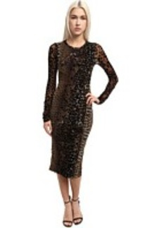 Jean Paul Gaultier Panther Tulle With Flocking Long Sleeve Sheath Dress