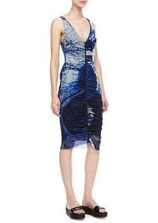 Jean Paul Gaultier Plunging Ruched-Front Dress, Blue