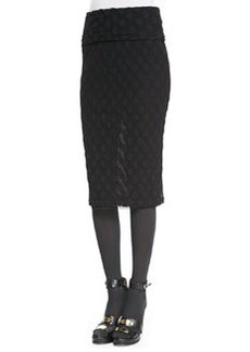 Jean Paul Gaultier Polka Dot-Textured Skirt with Fold-Over Waist